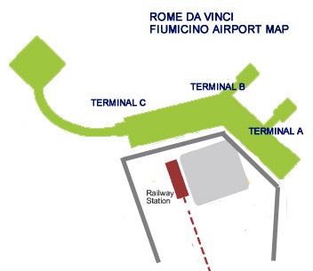 Leonardo Da Vinci Fiumicino airport map Terminal A B C